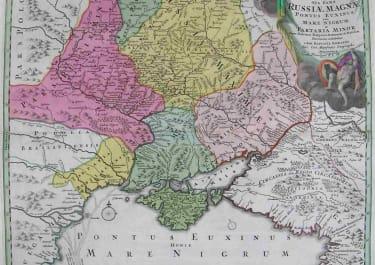 RUSSIA UKRAINE TABULA GEOGRAPHICA QUA PARS RUSSIAE MAGNAE PONTUS EUXINUS SEU MARE NIGRUM