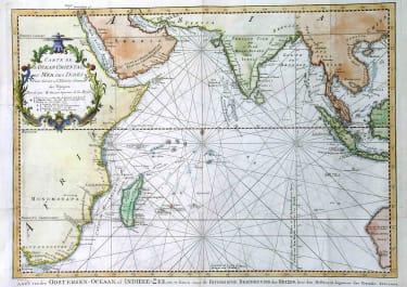 SEA CHART INDIAN OCEAN CARTE DE L'OCEAN ORIENTALE OU MER DES INDES