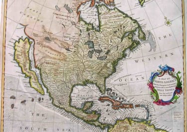 NORTH AMERICA CALIFORNIA AS ISLAND A MAP OF NORTH AMERICA WITH THE EUROPEAN SETTLEMENTS & WHATEVER ELSE IS REMARKABLE IN Ye WEST INDIES