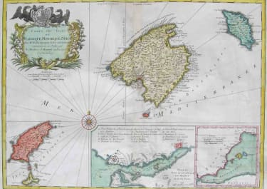 BALEARICS CARTE DES ISLES DE MAIORQUE,MINORQUE ET YVICE