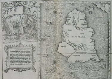 SRI LANKA CEYLON TABULA ASIAE XII ELEPHANT MAP