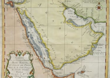 ARABIA CARTE DE LA COSTE D'ARABIE, MER ROUGE