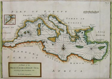 MEDITERRANEAN A CHART OF THE MEDITERRANEAN SEA ACCORDING TO MONsr BERTHELOT