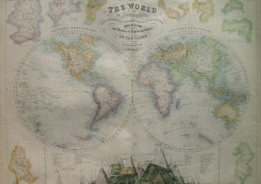 WORLD THE WORLD VIN HEMISPHERES WITH COMPARATIVE VIEWS AND THE HEIGHTS OF THE PRINCIPAL MOUNTAINS