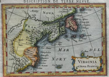 NORTH AMERICA EAST COAST VIRGINIA ET NOVA FRANCIA