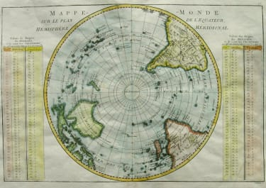 SOUTH POLE MAPPE-MONDE SUR LE PLAN DE L'EQUATEUR HEMISPHERE MERIDIONALE