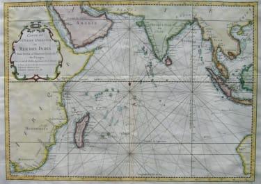 CHART INDIAN OCEAN CARTE DE L'OCEAN ORIENTAL OU MER DES INDES