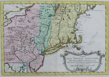 NEW ENGLAND NEW YORK CARTE DE LA NOUVELLE ANGLETERRE NOUVELLE YORK ET PENSILVANIE