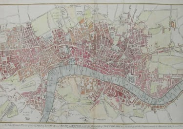 LONDON A NEW & CORRECT PLAN OF THE CITIES OF LONDON & WESTMINSTER WITH THE BOROUGH OF SOUTHWARK INCLUDING ALL THE IMPROVEMENTS & ALTERATIONS TO THE PRESENT YEAR