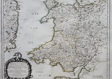 WALES UNCOMMON MAP BY SANSON 1658