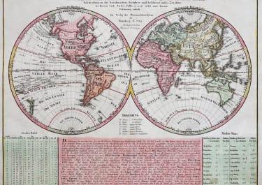 ANTIQUE MAP OF THE WORLD    NEUE WELT- KARTE