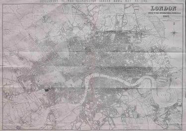 LONDON  WALL MAP 1862