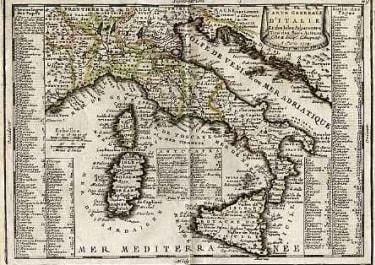CARTE GENERALE D'ITALIE ET DES ISLES ADJACENTES
