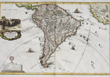 SCHERER  RARE MAP OF SOUTH AMERICA