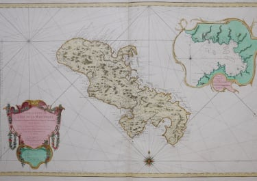 BELLIN'S MONUMENTAL WALL MAP OF MARTINIQUE SUPERB