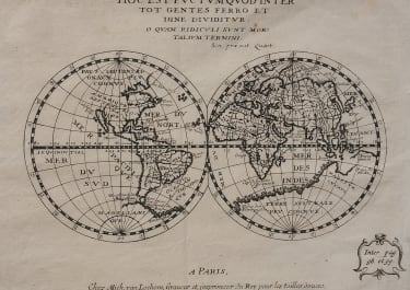RARE WORLD MAP BY BRIET 1648