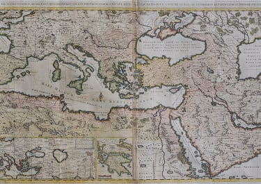 LARGE WALL MAP PF THE OTTOMAN TURKISH EMPIRE