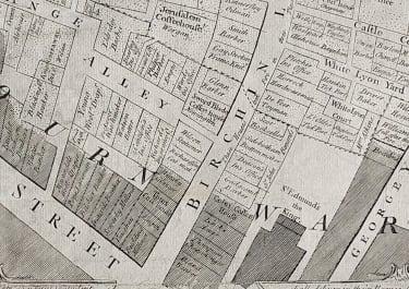 RARE PLAN OF CORNHILL LONDON AFTER 1748 FIRE JEFFREYS  PAYNE