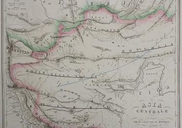 UNCOMMON MAP OF TIBET MONGOLIA REGION
