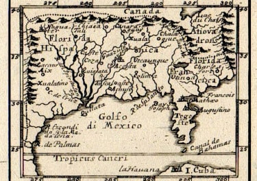 MULLER'S RARE LITTLE MAP FLORIDA LOUISIANA