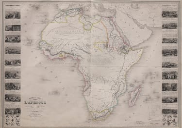 Decorative large map of Africa with Vignettes