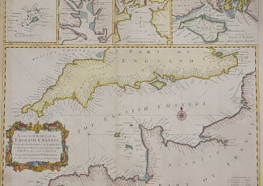 CHART OF THE ENGLISH CHANNEL  INSETS SCILLY ISLES PLYMOUTH  ISLE WIGHT ...