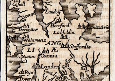 RARE BUCELIN MAP OF ENGLAND