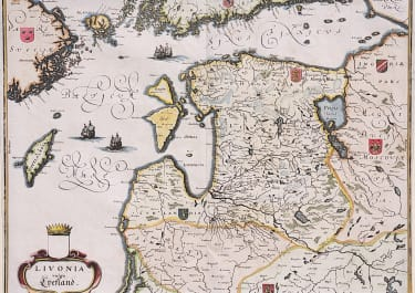 MERIAN MAP OF LITHUANIA ESTONIA & LATVIA