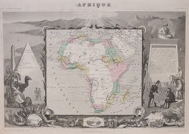 AFRICA  DECORATIVE MAP OF THE CONTINENT BY LEVASSEUR