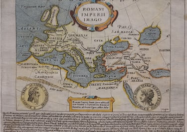 RARE SMALL MAP OF ROMAN EMPIRE HONDIUS DERIVED