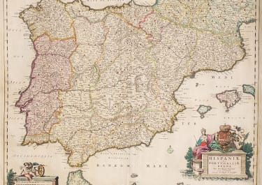 GOOD ORIGINAL COLOUR MAP OF SPAIN BY VISSCHER