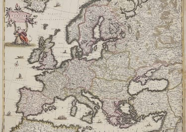 DE WIT'S ORIGINAL COLOUR MAP OF EUROPE