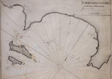MANUSCRIPT MAP OF CAP D'ANTIBES AND CANNES AFTER AYROUARD