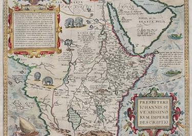 ORTELIUS  MAP OF THE LAND OF PRESTER JOHN