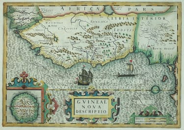 HONDIUS MAP OF WEST AFRICA WITH STUNNING ORIGINAL COLOUR