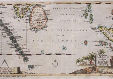 UNCOMMON MAP OFMALDIVES SRI LANKA SUMATRA ..NICOBAR ISLES