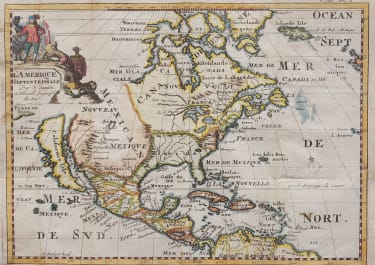 SANSON'S UNCOMMON MAP OF NORTH AMERICA  CALIFORNIA DEPICTED AS AN ISLAND