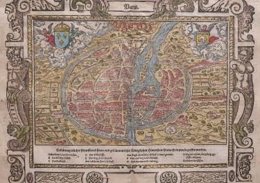 MUNSTER'S DECORATIVE SIXTEENTH CENTURY MAP OF PARIS