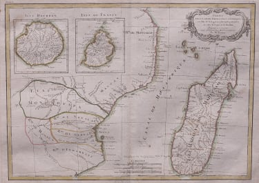 BONNE LATTRE MAP OF MADAGASCAR, MOZAMBIQUE.  BOURBON ..