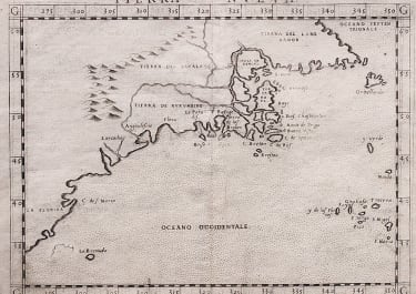ONE OF THE EARLIEST MAPS OF NORTH EAST AMERICA .. RUSCELLI