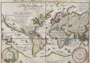 MERIAN'S WORLD MAP IN PLANISPHERE