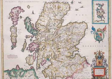 JANSSONIUS ORIGINAL COLOUR MAP OF SCOTLAND