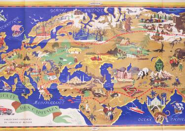 CHOCOLAT MENIER  DECORATIVE TWENTIETH CENTURY MAP