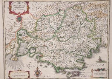 HONDIUS' MAP OF PROVENCE  FRANCE