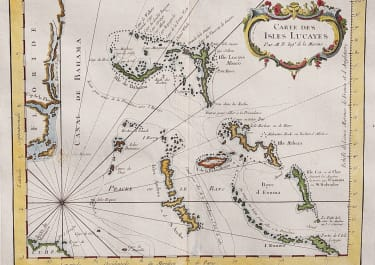 RARE MAP OF THE BAHAMAS AND EAST COAST OF FLORIDA