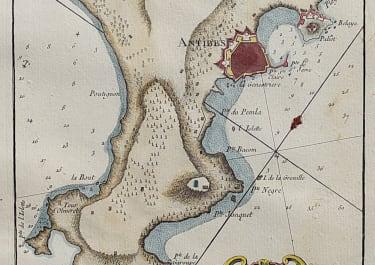 ANTIQUE MAP OF THE CAP D'ANTIBES  BELLIN 1764