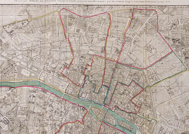 RARE LARGE DETAILED AND DECORATIVE MAP OF PARIS 1797