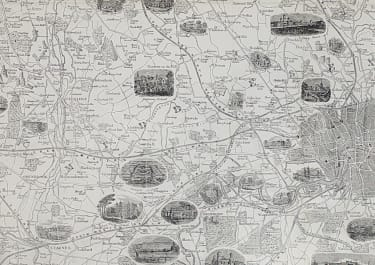 LARGE DETAOLED & MAP OF THE ENVIRONS OF LONDON WITH VIGNETTES