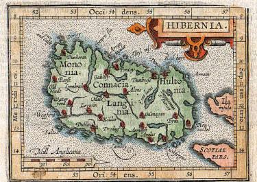 SCARCE ORTELIUS  HULSIUS SMALL MAP OF IRELAND