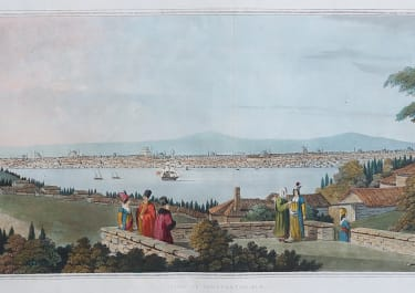 STUNNING ORIGINAL COLOUR AQUATINT OF CONSTANTINOPLE